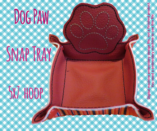 5x7 hoop - DOG PAW snap tray - In The Hoop - Machine Embroidery Design File, digital download millymellydesigns