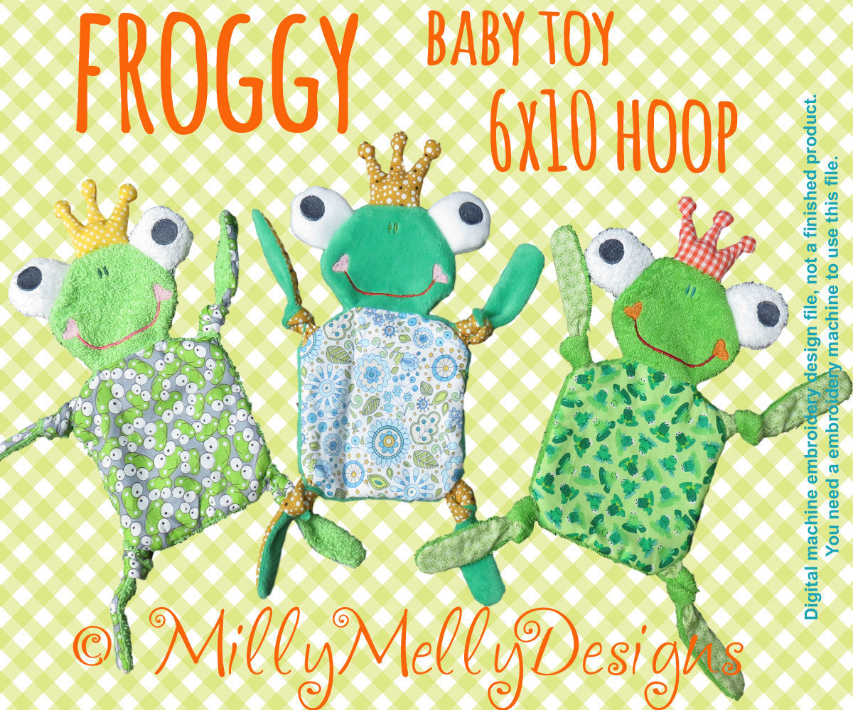 FROGGY 6x10 hoop - Baby Toy - ITH - In The Hoop - Machine Embroidery Design File, digital download millymellydesigns