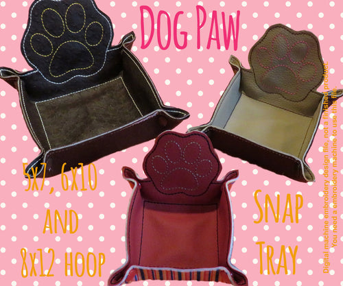 DOG PAW snap tray - FULL set 5x7, 6x10 and 8x12 hoop - In The Hoop - Machine Embroidery Design File, digital download millymellydesigns