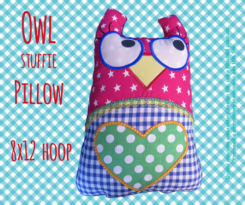 Owl stuffie-pillow - 8x12 hoop - ITH - In The Hoop - Machine Embroidery Design File, digital download millymellydesigns