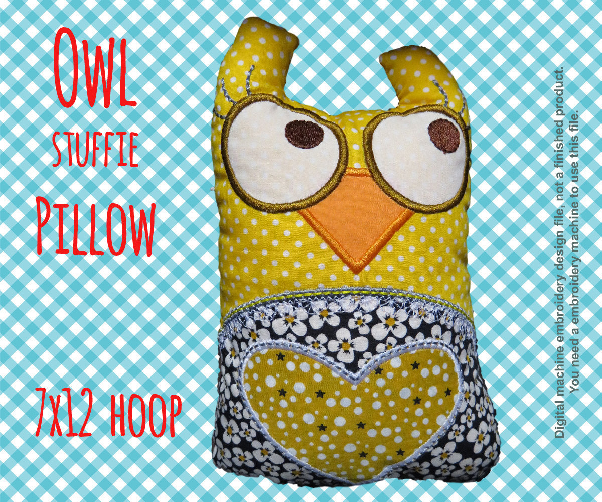 Owl stuffie-pillow - 7x12 hoop - ITH - In The Hoop - Machine Embroidery Design File, digital download millymellydesigns