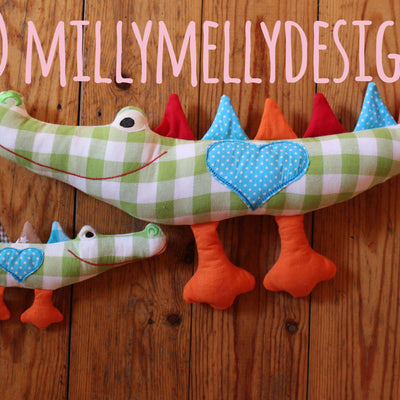 7x12 hoop - TWO SIDED crocodile softie - toy - In The Hoop - Machine Embroidery Design File, digital download millymellydesigns