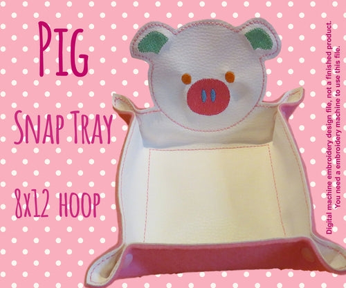 8x12 hoop - PIG snap tray - In The Hoop - Machine Embroidery Design File, digital download millymellydesigns