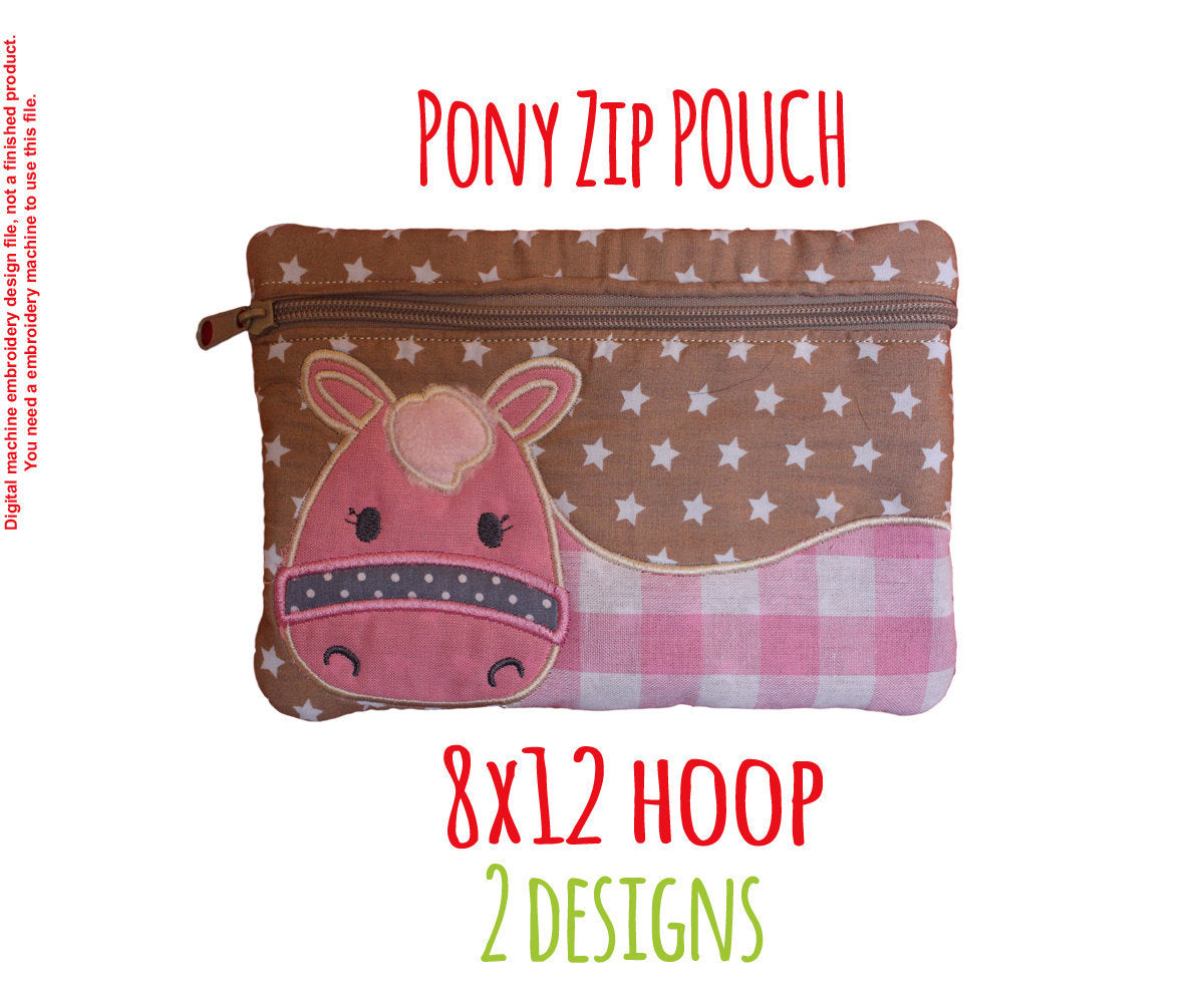Pony Pouch - 8x12 hoop - ITH - In The Hoop - Machine Embroidery Design File, digital download millymellydesigns