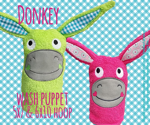 Wash Puppet - DONKEY - 5x7 and 6x10 hoop - ITH - In The Hoop - Machine Embroidery Design File, digital download millymellydesigns