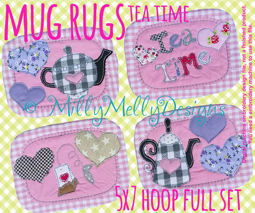 Tea mug rug - FULL SET for 5x7 hoop - In The Hoop - Machine Embroidery Design File, digital download millymellydesigns