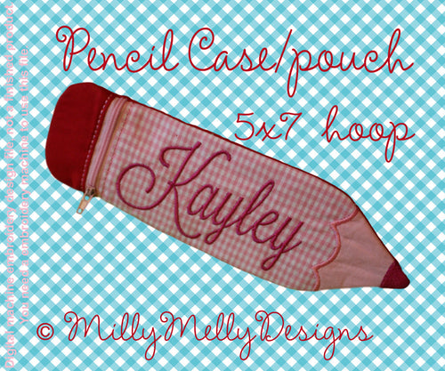5x7 hoop - Pencil case pouch - ITH - In The Hoop - Machine Embroidery Design File, digital download millymellydesigns