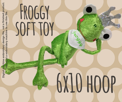 FROG PRINCE 6x10 hoop - soft toy - ITH - In The Hoop - Machine Embroidery Design File, digital download millymellydesigns