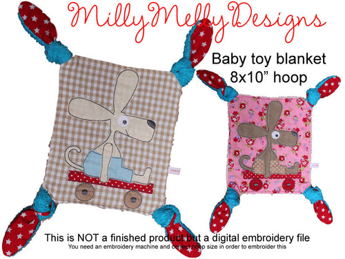 8x10 hoop - Baby Toy Blanket - ITH - In The Hoop - Machine Embroidery Design File, digital download millymellydesigns