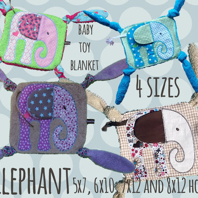 ELEPHANT SET 5x7, 6x10, 7x12, 8x12  hoop - Baby Toy Blanket - ITH - In The Hoop - Machine Embroidery Design File, digital download millymellydesigns