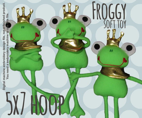 FROG PRINCE 5x7 hoop - soft toy - ITH - In The Hoop - Machine Embroidery Design File, digital download millymellydesigns