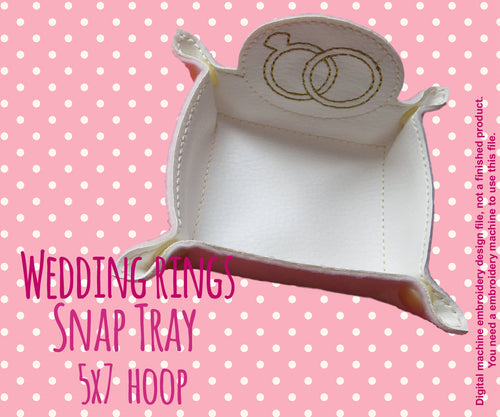 5x7 hoop - Wedding Rings snap tray - In The Hoop - Machine Embroidery Design File, digital download millymellydesigns