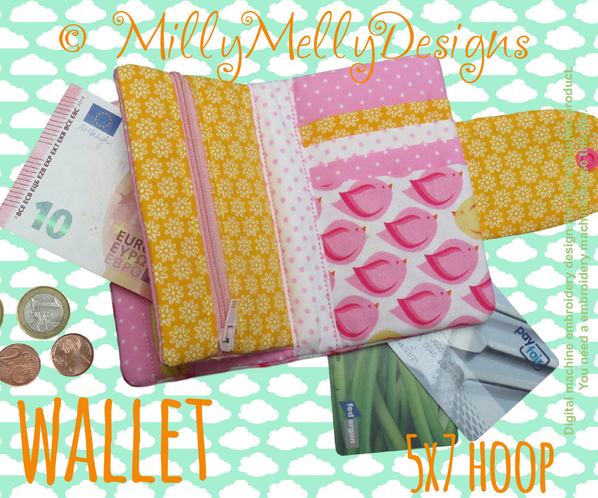 5x7 hoop - wallet - many pockets - machine embroidery design file - millymellydesigns millymellydesigns