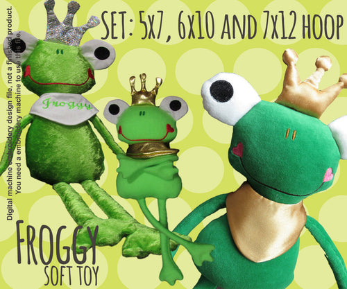 FROG PRINCE full set, 3 sizes - soft toy - ITH - In The Hoop - Machine Embroidery Design File, digital download millymellydesigns