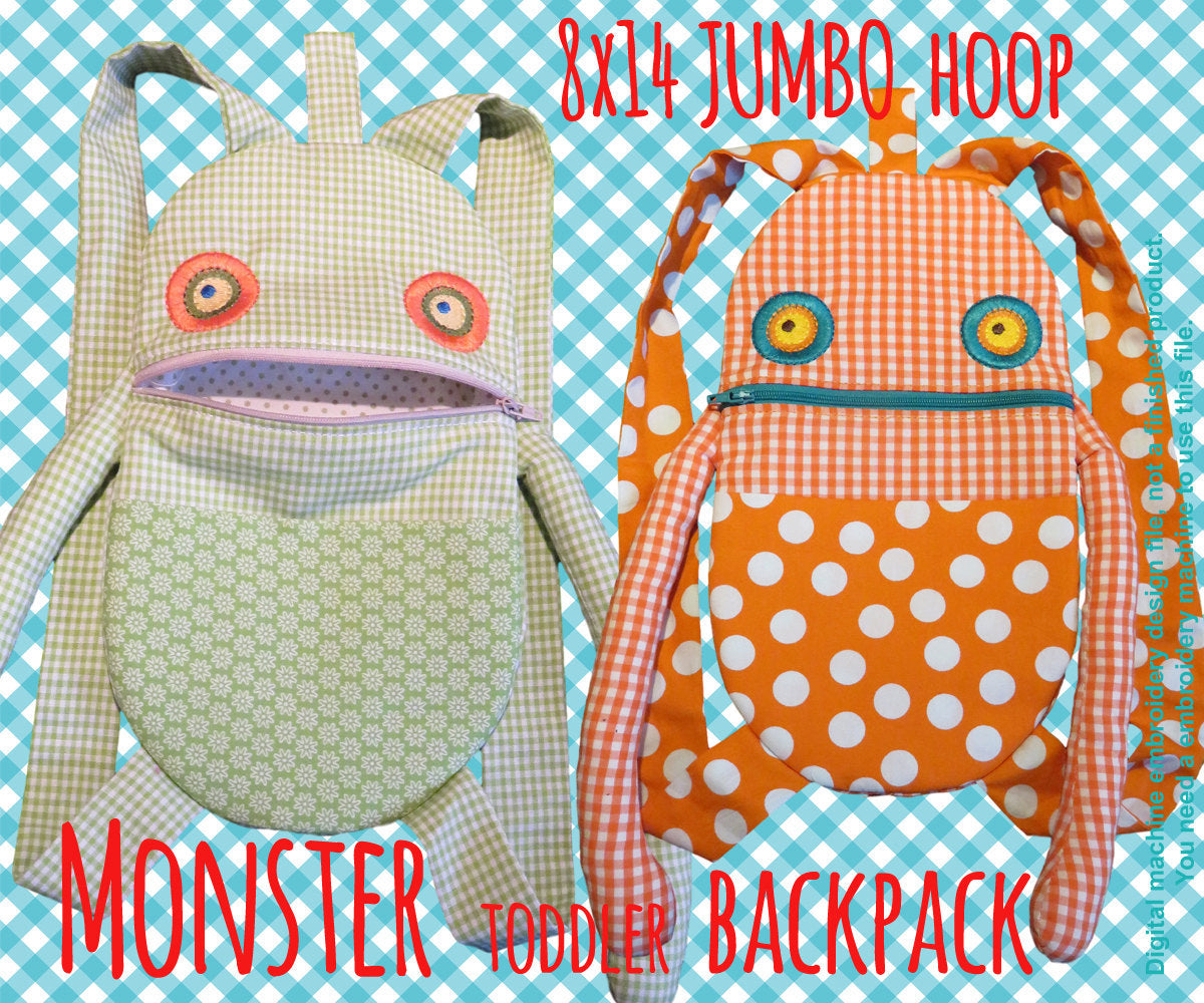 JUMBO hoop - Monster Toddler backpack - ITH - In The Hoop - Machine Embroidery Design File, digital download millymellydesigns