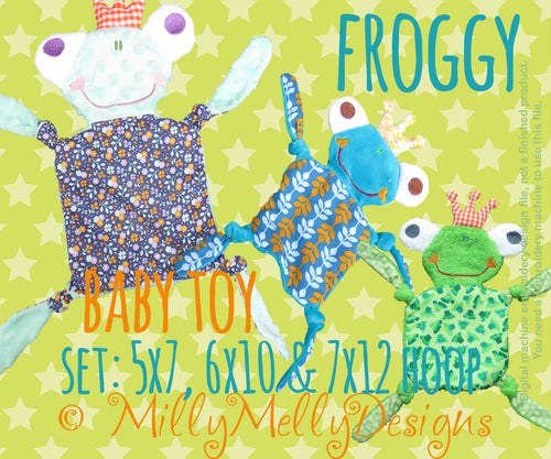 FROGGY SET: 5x7, 6x10 and 7x12 hoop - Baby Toy - ITH - In The Hoop - Machine Embroidery Design File, digital download millymellydesigns
