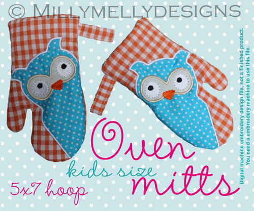5x7 hoop - Oven Mitts - OWL - ITH - In The Hoop - Machine Embroidery Design File, digital download millymellydesigns