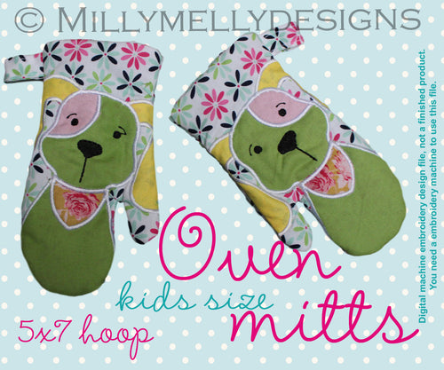 5x7 hoop - Oven Mitts - DOG - ITH - In The Hoop - Machine Embroidery Design File, digital download millymellydesigns