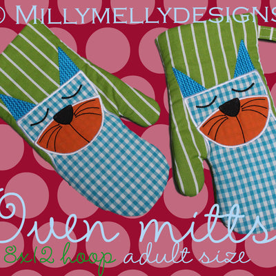 8x12 hoop - Oven Mitts - CAT - ITH - In The Hoop - Machine Embroidery Design File, digital download millymellydesigns