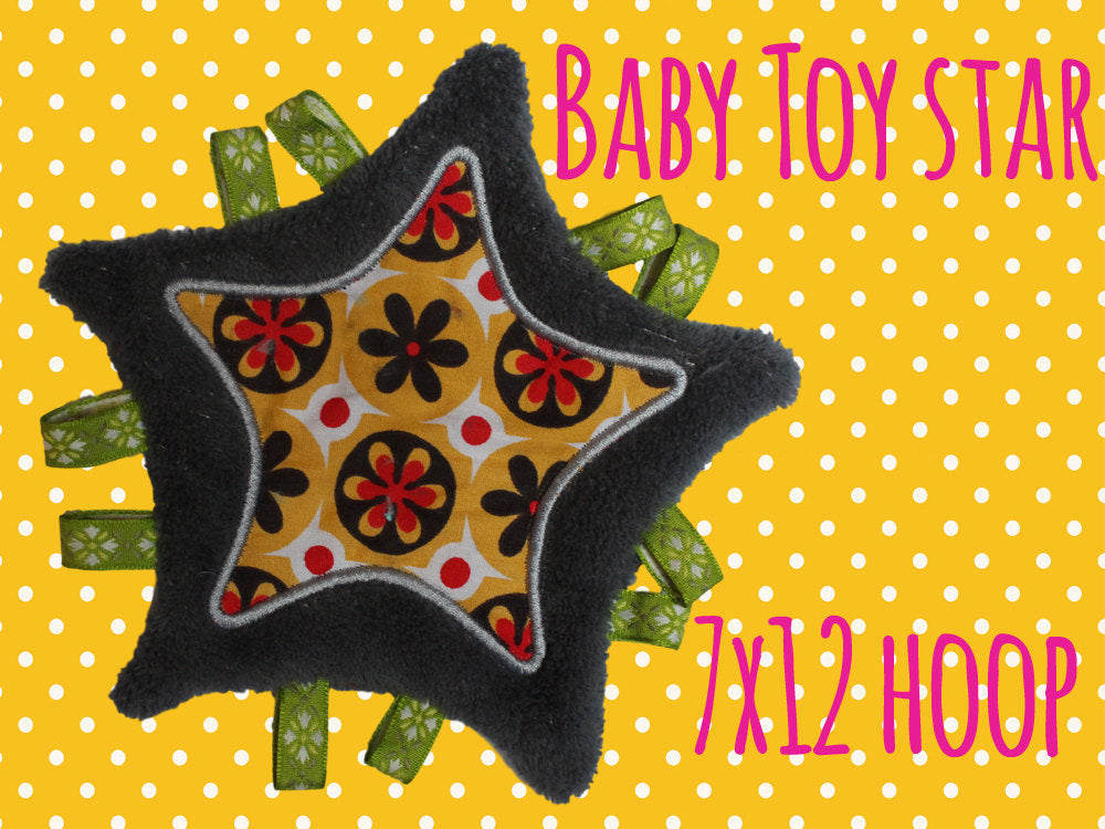 7x12 hoop - Baby Toy Blanket STAR - Toy Blanket - In The Hoop - Machine Embroidery Design File, digital download millymellydesigns