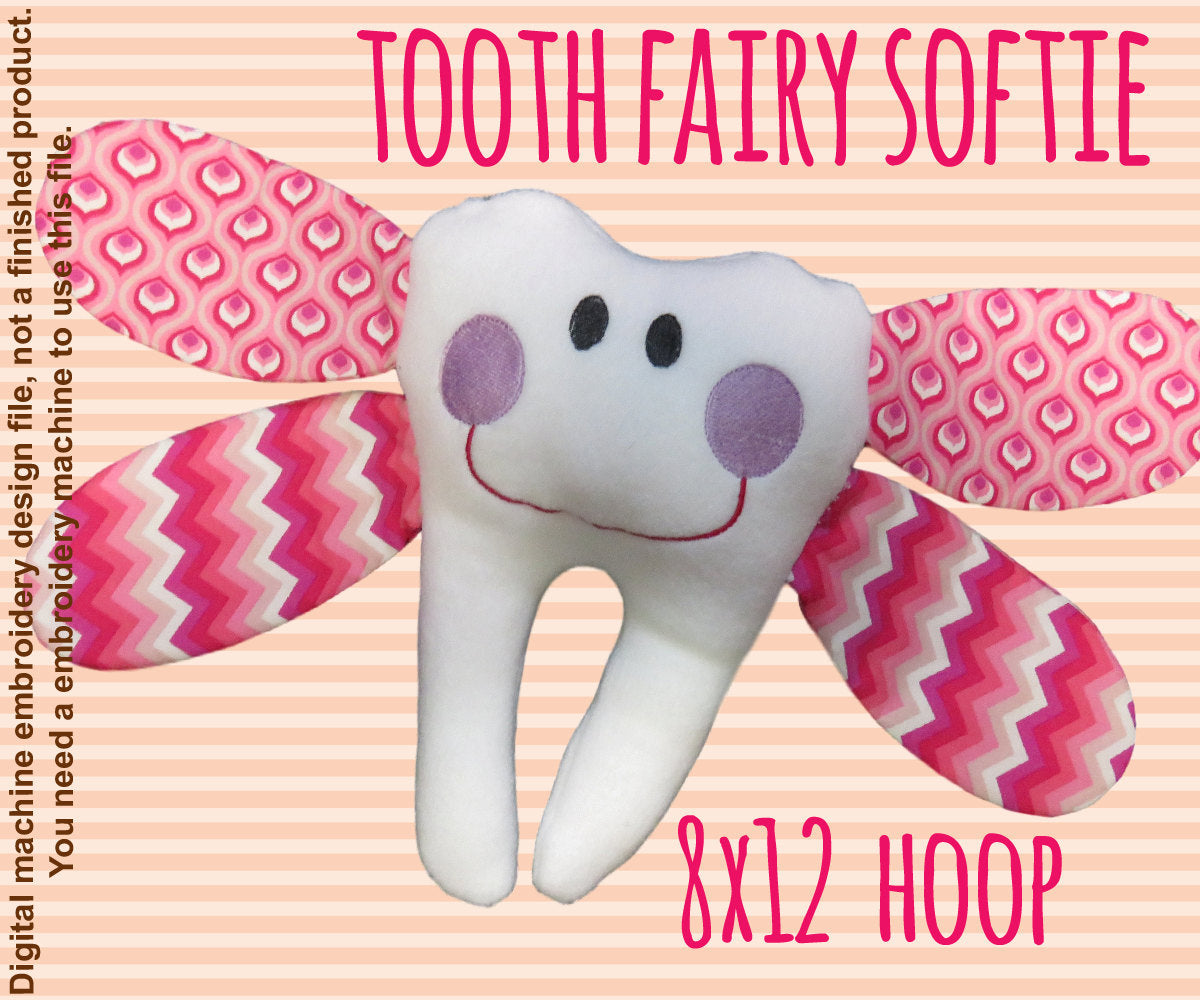 Tooth fairy softie toy - 8x12 hoop - ITH - In The Hoop - Machine Embroidery Design File, digital download millymellydesigns