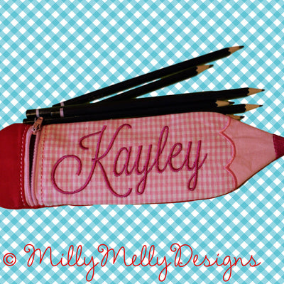 SET: 5x7, 6x10 and 7x12 hoop - Pencil case pouch - ITH - In The Hoop - Machine Embroidery Design File, digital download millymellydesigns