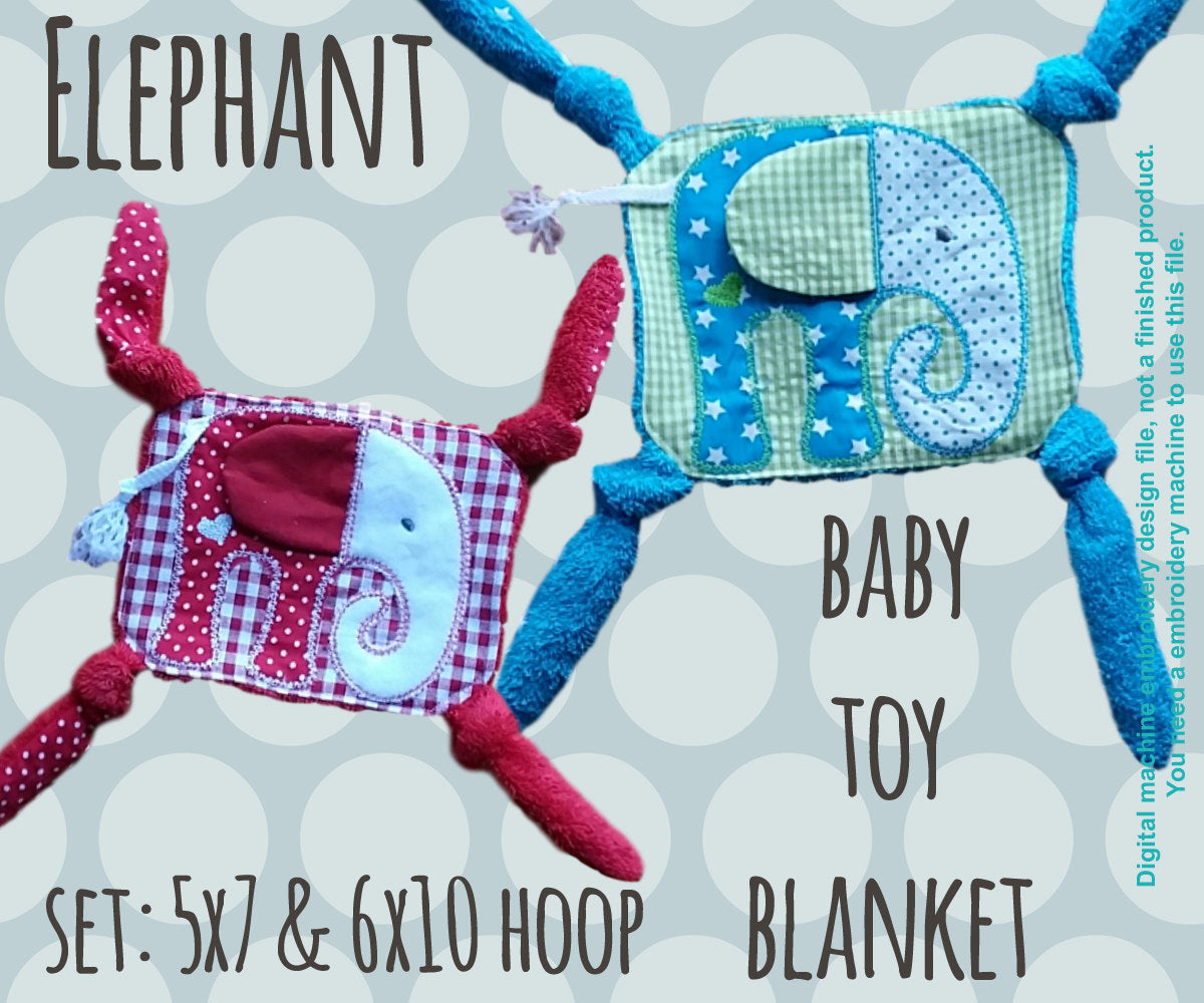 ELEPHANT set 5x7 and 6x10 hoop - Baby Toy Blanket - ITH - In The Hoop - Machine Embroidery Design File, digital download millymellydesigns
