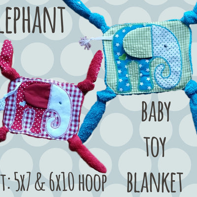 ELEPHANT set 5x7 and 6x10 hoop - Baby Toy Blanket - ITH - In The Hoop - Machine Embroidery Design File, digital download - millymellydesigns
