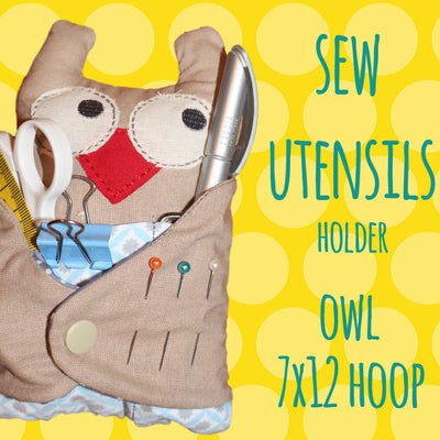 Owl sew utensils holder - 7x12 hoop - In The Hoop - Machine Embroidery Design File, digital download millymellydesigns