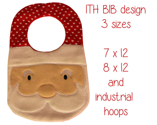 7x12, 8x12 AND industrial hoop sizes included! - BIB - santa - Machine Embroidery Design File, digital download millymellydesigns