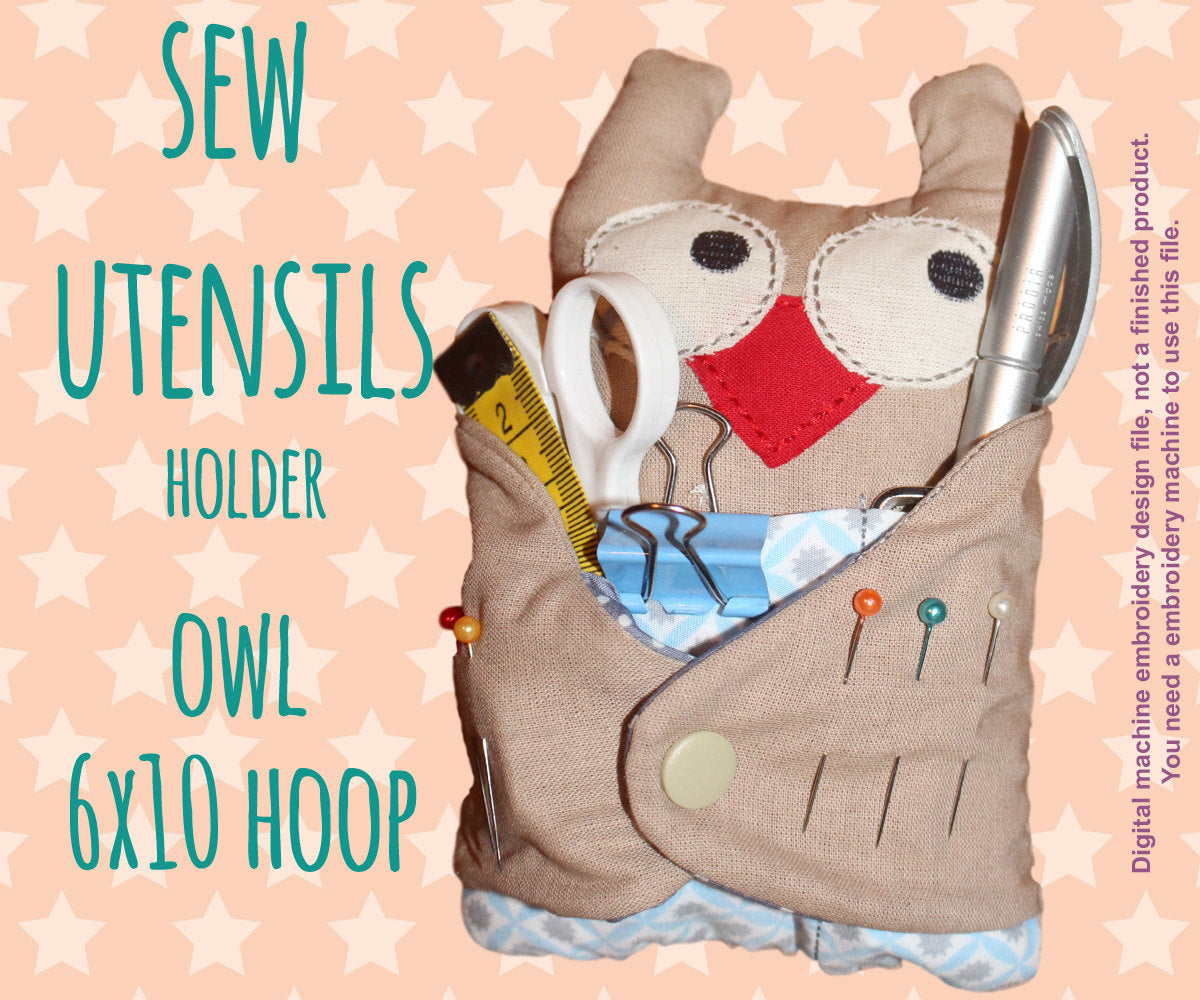 Owl sew utensils holder - 6x10 hoop - In The Hoop - Machine Embroidery Design File, digital download millymellydesigns