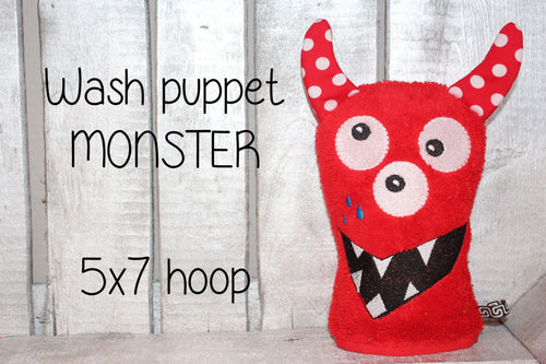 5x7 hoop - Wash Puppet - MONSTER - ITH - In The Hoop - Machine Embroidery Design File, digital download millymellydesigns