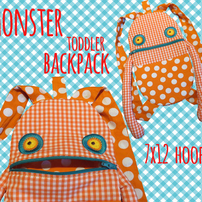 7x12 hoop - Monster Toddler backpack - ITH - In The Hoop - Machine Embroidery Design File, digital download millymellydesigns