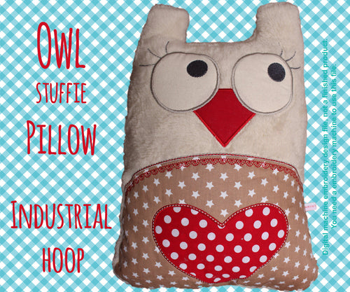 Owl stuffie-pillow - INDUSTRIAL hoop - ITH - In The Hoop - Machine Embroidery Design File, digital download millymellydesigns