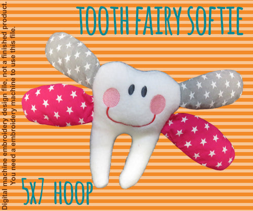 Tooth fairy softie toy - 5x7 hoop - ITH - In The Hoop - Machine Embroidery Design File, digital download millymellydesigns