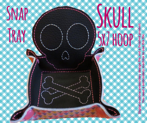 5x7 hoop - SKULL snap tray - In The Hoop - Machine Embroidery Design File, digital download millymellydesigns
