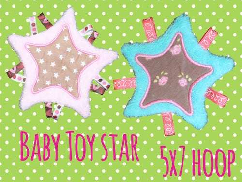 5x7 hoop - Baby Toy Blanket STAR - Toy Blanket - In The Hoop - Machine Embroidery Design File, digital download millymellydesigns