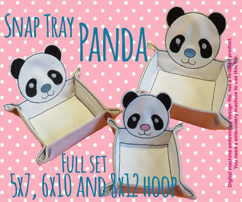 SET 5x7-6x10-8x12 hoop - PANDA snap tray - In The Hoop - Machine Embroidery Design File, digital download millymellydesigns