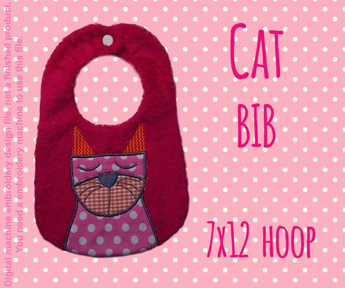 CAT bib - ITH Embroidery Design - 7x12 hoop, Machine Embroidery Design File, digital download millymellydesigns