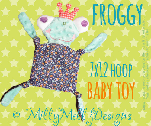 FROGGY 7x12 hoop - Baby Toy - ITH - In The Hoop - Machine Embroidery Design File, digital download millymellydesigns