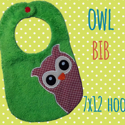 7x12 hoop - BIB - owl - Machine Embroidery Design File, digital download millymellydesigns