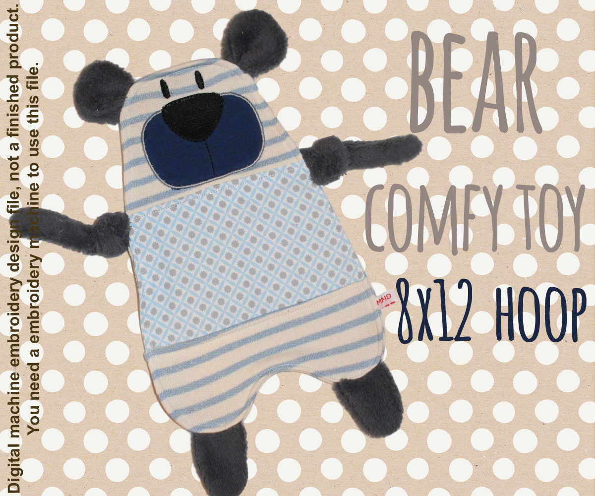 Cute bear 8x12 hoop - Baby Toy Blanket comfy - ITH - In The Hoop - Machine Embroidery Design File, digital download millymellydesigns