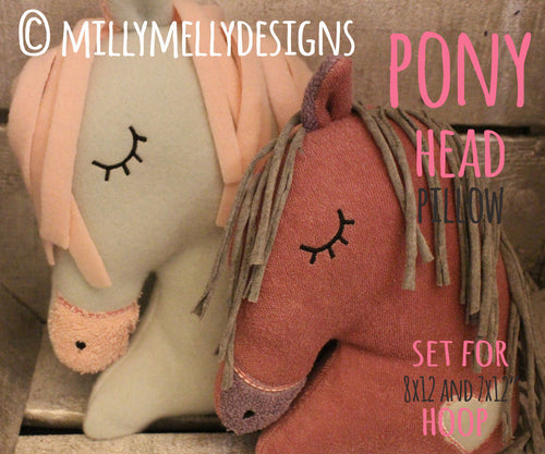Horse head softie toy - SET for the 7x12 x 8x12 hoop - ITH - In The Hoop - Machine Embroidery Design File, digital download millymellydesigns