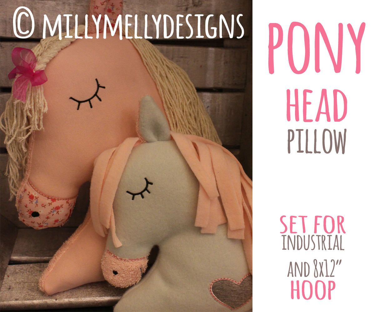 Horse head softie toy - SET for the 8x12 and industrial hoop - ITH - In The Hoop - Machine Embroidery Design File, digital download - millymellydesigns