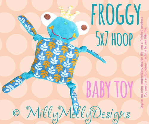 FROGGY 5x7 hoop - Baby Toy - ITH - In The Hoop - Machine Embroidery Design File, digital download millymellydesigns