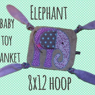 ELEPHANT 8x12 hoop - Baby Toy Blanket - ITH - In The Hoop - Machine Embroidery Design File, digital download millymellydesigns