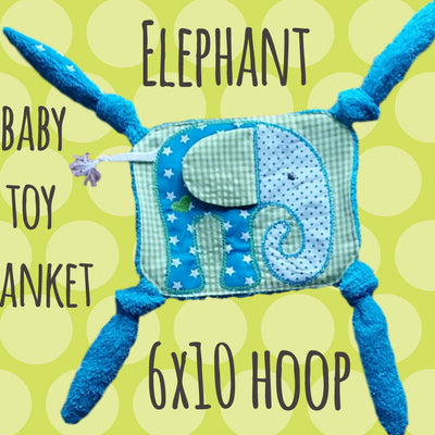 ELEPHANT 6x10 hoop - Baby Toy Blanket - ITH - In The Hoop - Machine Embroidery Design File, digital download millymellydesigns