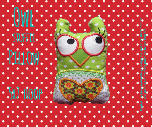 Owl stuffie-pillow - 5x7 hoop - ITH - In The Hoop - Machine Embroidery Design File, digital download millymellydesigns