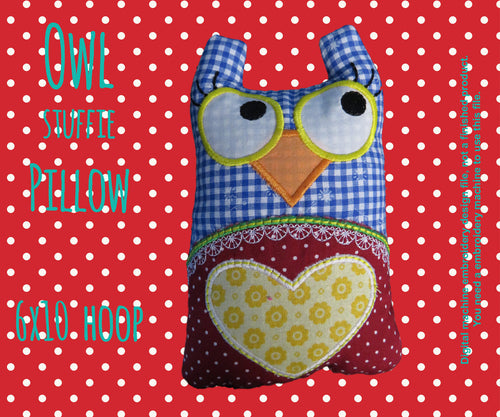 Owl stuffie-pillow - 6x10 hoop - ITH - In The Hoop - Machine Embroidery Design File, digital download millymellydesigns