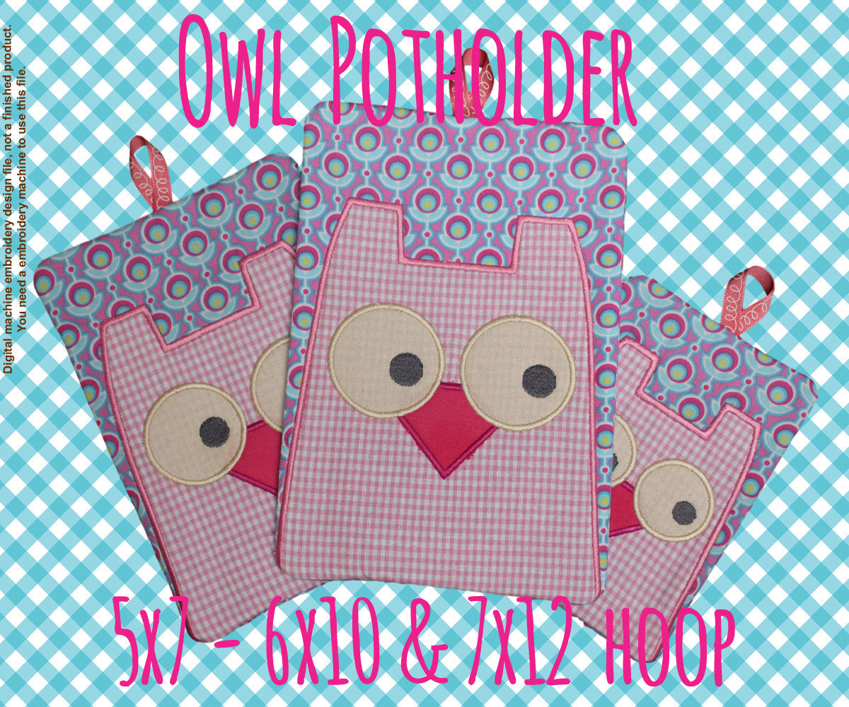 Owl potholder SET - 5x7, 6x10 and 7x12 hoop - In The Hoop - Machine Embroidery Design File, digital download millymellydesigns